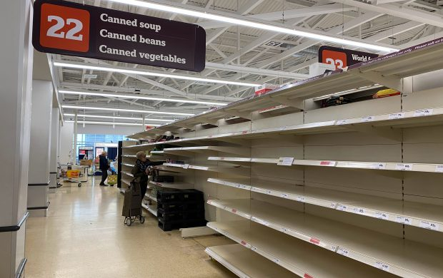 sustainable food system - image shows empty shop shelves