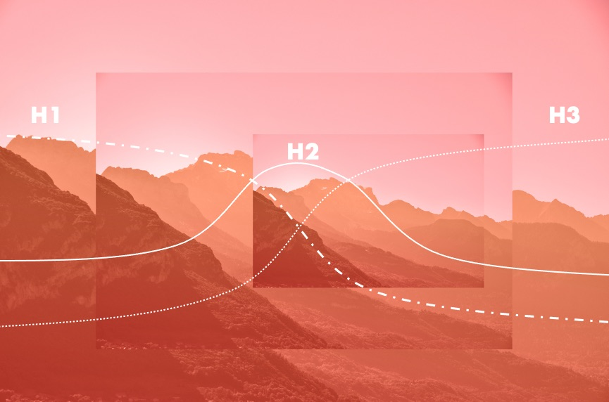 Graphic showing an interpretation of the 3 horizons model to illustrate the Futures tools article