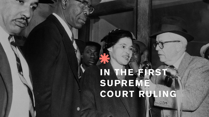 A picture of Rosa Parks interviewed after the 1956 Supreme Court ruling which made segregation unconstitutional. Systems do change: four lessons from the civil rights movement in the US.