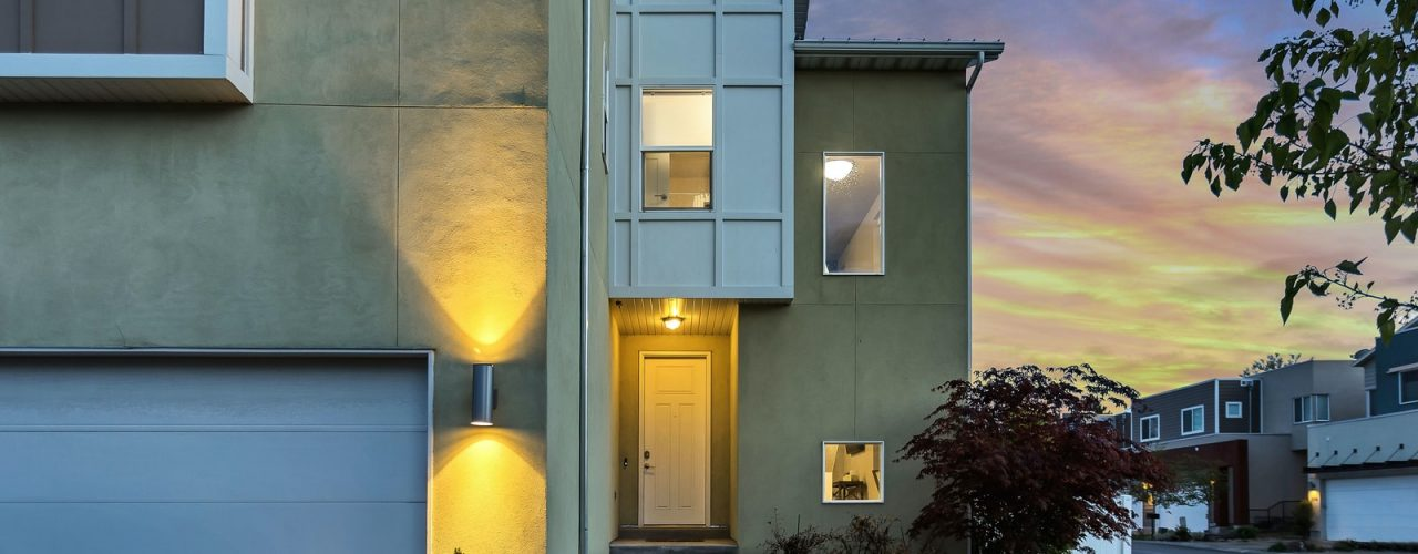 outdoor lamps turned on