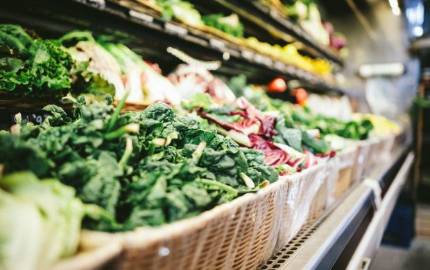 row of vegetables placed on multilayered display fridge